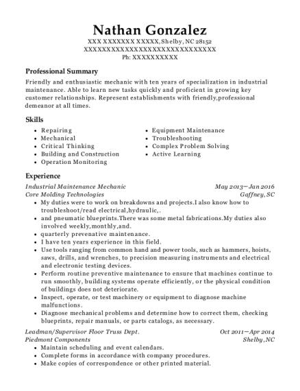 best industrial maintenance mechanic resumes resumehelp
