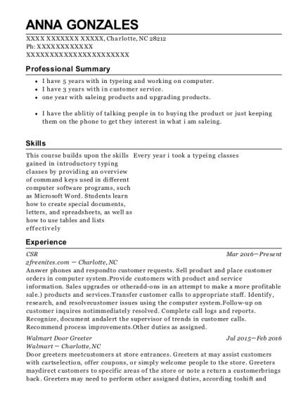 Anna Gonzales  sc 1 st  ResumeHelp & Best Walmart Door Greeter Resumes | ResumeHelp