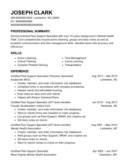 Best Certified Peer Support Specialist Resumes Resumehelp