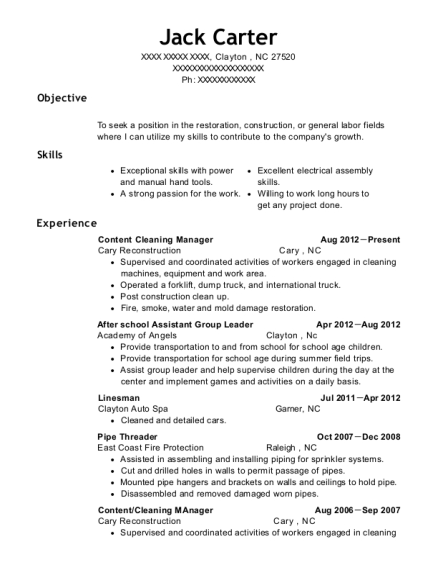 Best Cleaning Manager Resumes   ResumeHelp