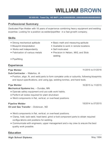 View Resume. Pipe Welder