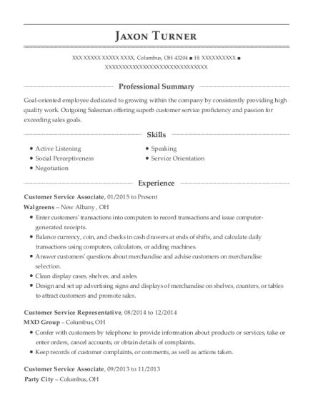 Walgreens Customer Service Associate Resume Sample Columbus Ohio