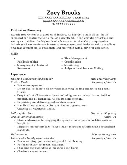 Shipping And Receiving Manager Resume - Umfosoft