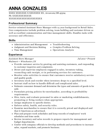 Anna Gonzales  Department Manager Resume