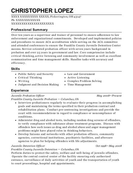 View Resume. Juvenile Probation Officer