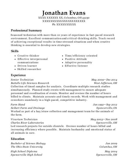 View Resume. Senior Technician