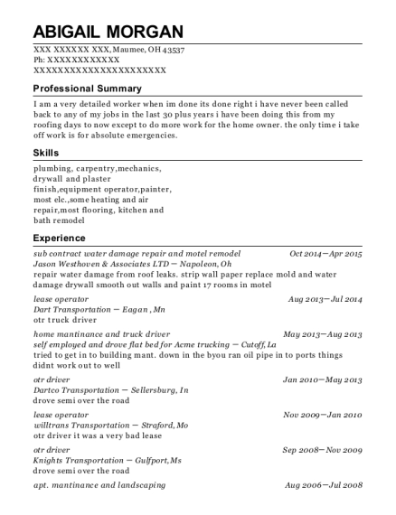 oil and gas resumes