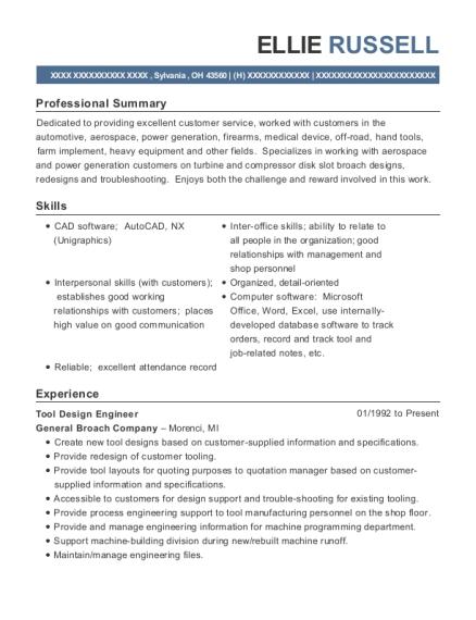 View Resume. Tool Design Engineer