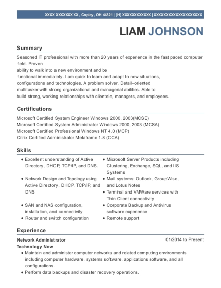 Senior Network Engineer Customize Resume View