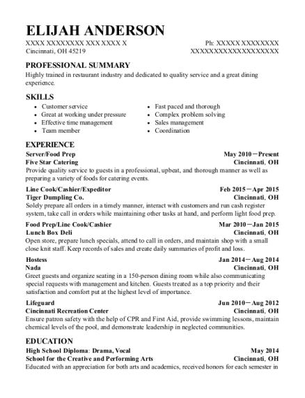 elijah anderson - Food Prep Resume