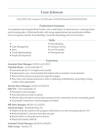 Anthropologie Assistant Visual Manager Resume Sample - Cambridge ...