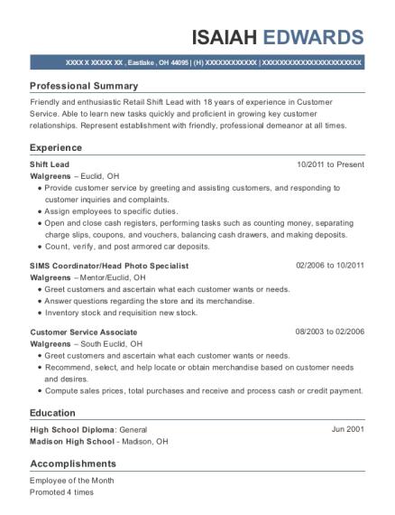 walgreens pharmacy sims coordinator resume sample