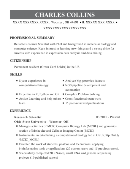 Ohio State University Research Scientist Resume Sample - Wooster