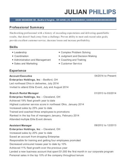 enterprise rent a car branch rental manager resume sample franklin