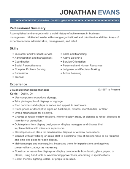 best visual merchandising manager resumes resumehelp