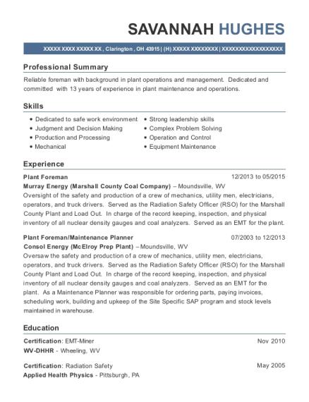 Murray Energy Marshall County Coal Company Plant Foreman Resume ...