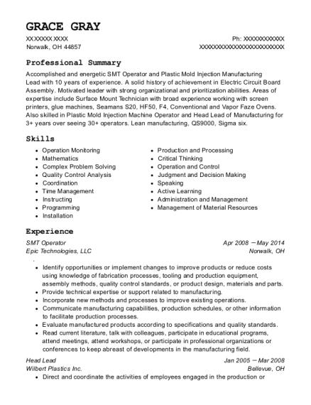 Best Smt Operator Resumes | ResumeHelp