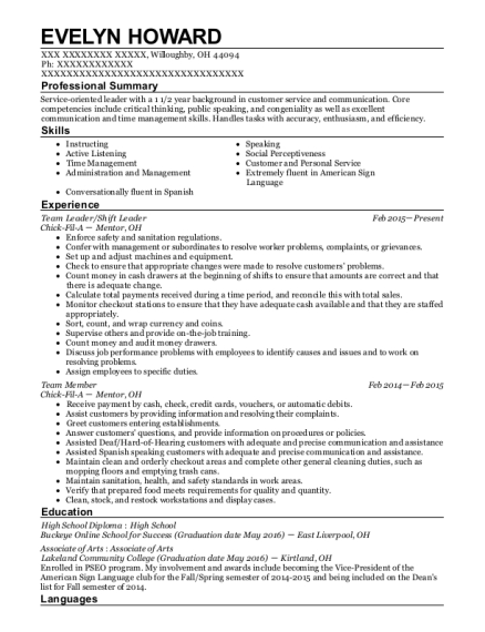 Chick-fil-a Team Leader/shift Leader Resume Sample - Willoughby Ohio ...