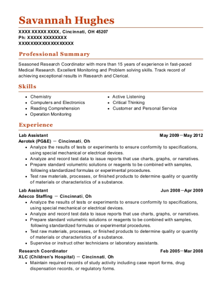 clinical research coordinator resume