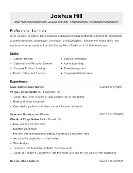 Best Seasonal Maintenance Worker Resumes | ResumeHelp