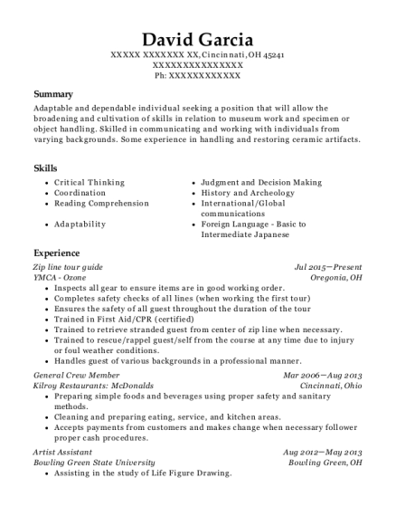 View Resume. Zip Line Tour Guide  Tour Guide Resume