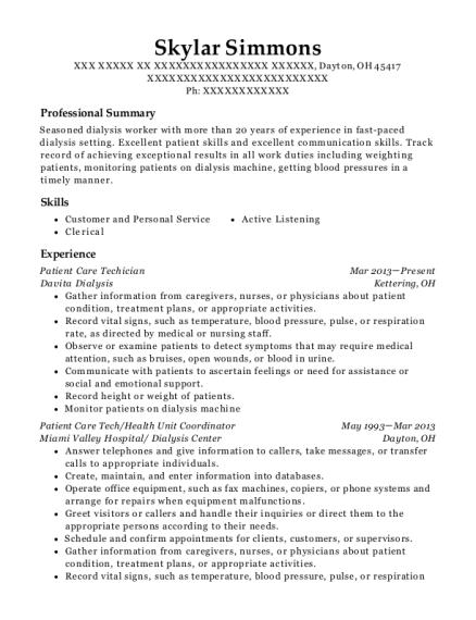 Best Patient Care Tech/health Unit Coordinator Resumes | ResumeHelp