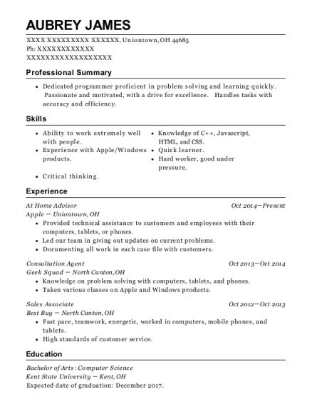 Apple At Home Advisor Resume Sample - Uniontown Ohio   ResumeHelp