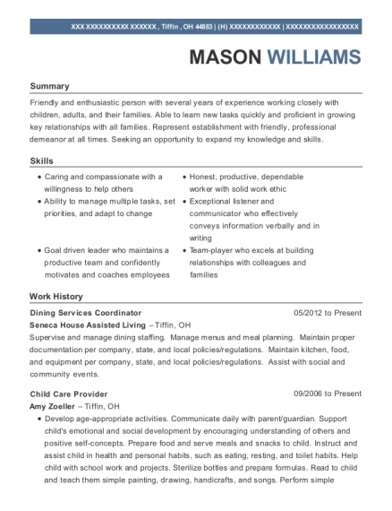 seneca house assisted living dining services coordinator resume