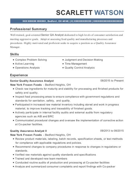 united health care senior quality assurance analyst resume sample
