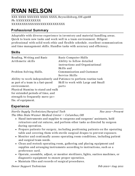 Sterile Supply Technician , Technical Assistant III. Customize Resume ·  View Resume