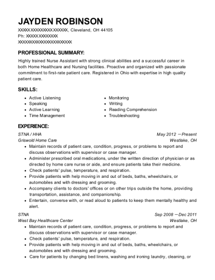 resume for hha selo l ink co