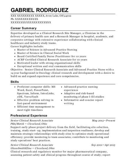 Pra/merck Senior Clinical Research Associate Resume Sample - Avon ...