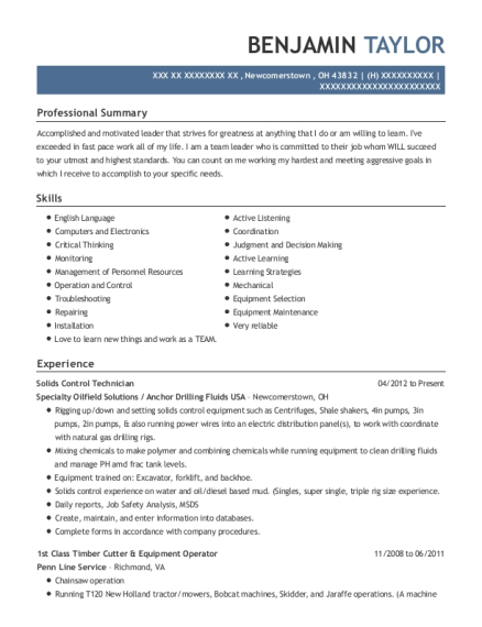 Solids Control Technician , Solids Control Tech. Customize Resume · View  Resume