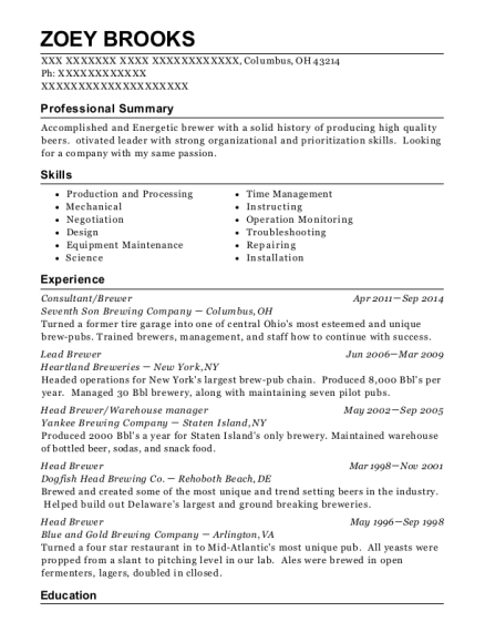 Seventh Son Brewing Company Consultant/brewer Resume Sample ...