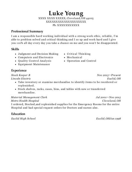 material management resume sample