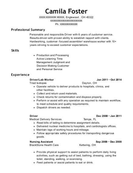 Triad Isotopes Driver Lab Worker Resume Sample Englewood Ohio