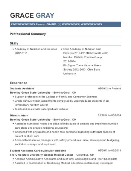 Grace Gray  Registered Dietitian Resume