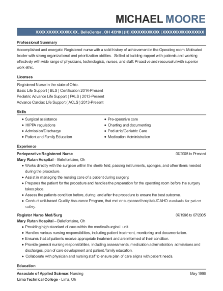 michael moore - Med Surg Resume