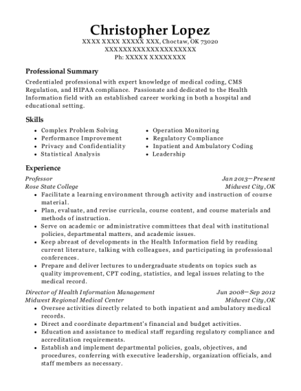 christopher lopez - Clinical Documentation Specialist Sample Resume