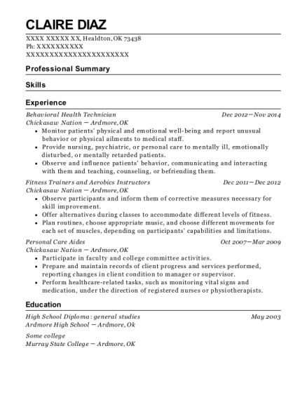 Academic Coordinator , Behavioral Health Technician. Customize Resume ·  View Resume