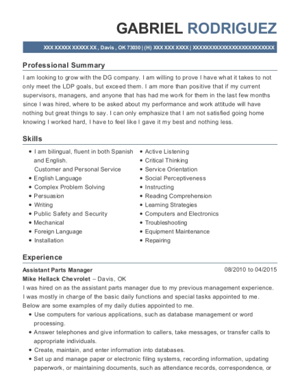 Best Assistant Parts Manager Resumes