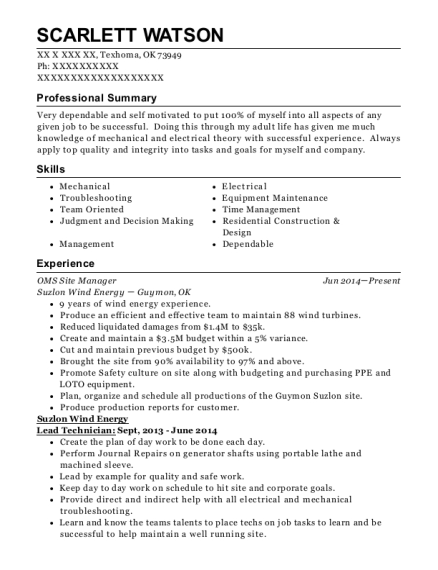 Suzlon Wind Energy Oms Site Manager Resume Sample - Texhoma Oklahoma ...