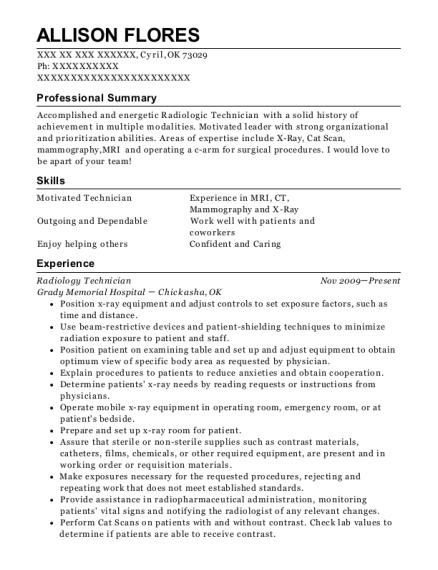 Twin Rivers Regional Medical Center Radiology Technician Resume ...