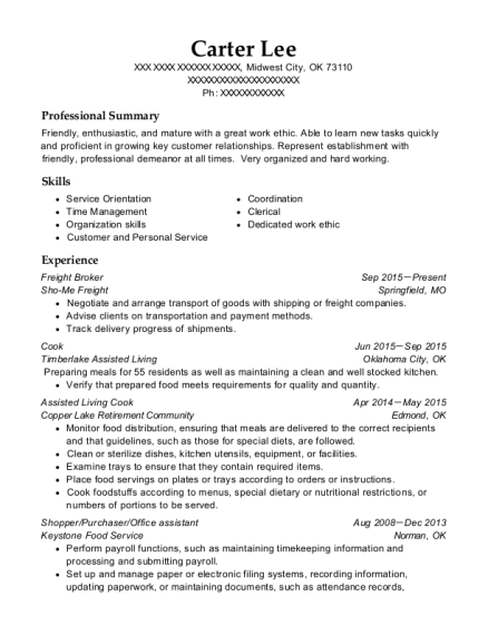 carter lee - Freight Broker Sample Resume