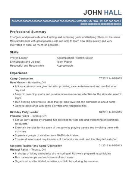 View Resume. Camp Counsellor