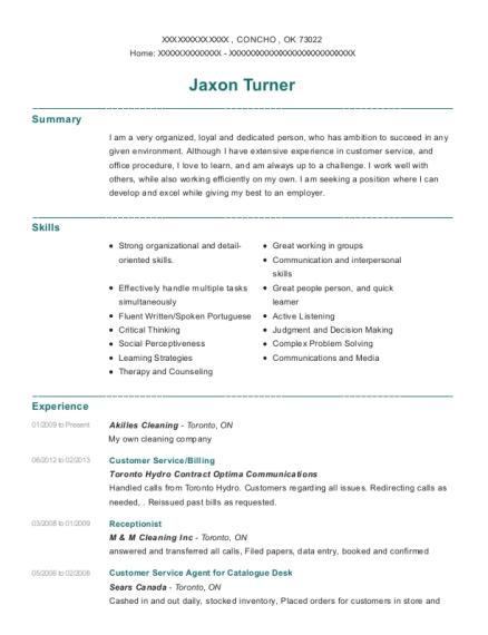 View Resume. Customer Service/Billing