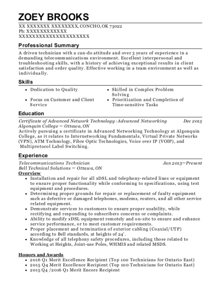 Telecommunication Technician Helper Customize Resume View