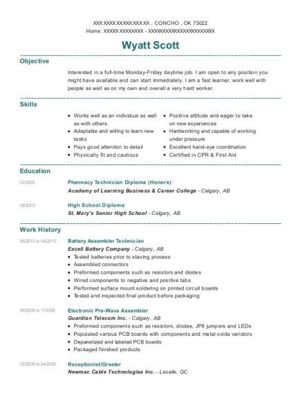 wyatt scott - Sample Greeter Resume