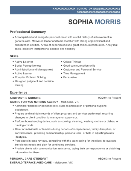 bupa aged care assistant in nursing resume sample jenners
