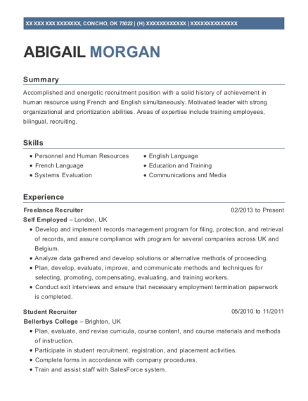 recruitment manager resumes